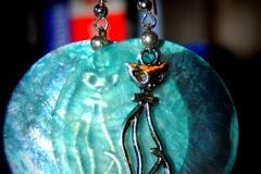 57 turquoise chat argenté
